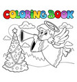 coloring book image with angel 2 vector image