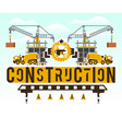 construction site crane lifting concrete slabs vector image vector image
