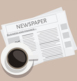 Cup of coffee and newspaper vector image vector image