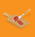 cut vegetable and fruit set hop with a knife on a vector image vector image