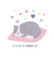 cute cat cartoon kitten dreaming on pillow vector image vector image