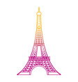 degraded line eiffel tower architecture from paris vector image vector image