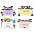 diploma template with kids in background vector image vector image