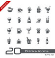 drinks icons - basics vector image