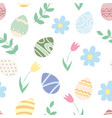easter seamless pattern eggs and flowers vector image