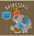elephant and turtle funny basketball players vector image