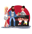 family buys ticket to cinema vector image vector image