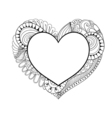 floral doodle heart frame in zentangle style vector image