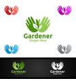 gardener care logo logo with green vector image vector image