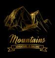 golden mountains adventures emblem design hand vector image vector image