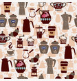 hand-drawn collection seamless pattern coffee vector image vector image
