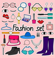 hand drawn doodle sticker fashion set vector image