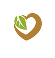 heart shape composed with green leaves living in vector image vector image