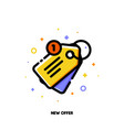 line icon of sale price tag for new offer concept vector image