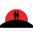 loving couple hold hands people stand on a hill vector image vector image