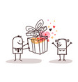 man in love giving a present to a woman vector image