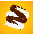 milk and chocolate splashes icon eps10 vector image