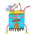 monster creature upside down with flowers colorful vector image vector image