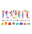 present boxes and guests happy birthday party vector image vector image