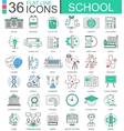 school color flat line outline icons vector image vector image