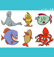 sea life animal species characters collection vector image vector image