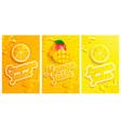 set fresh and cold lemonmangoorange juices vector image