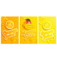 set of fresh and cold lemonmangoorange juices vector image vector image