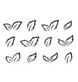 set of hand drawn black leaves icons vector image
