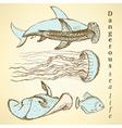 Sketch sea creatures in vintage style vector image vector image