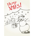 snowmans greetings vector image vector image