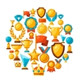 Sport or business background with award icons vector image vector image