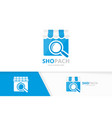 store and loupe logo combination market vector image vector image