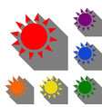 sun sign set of red orange yellow vector image