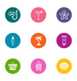 swimming party icons set flat style vector image vector image