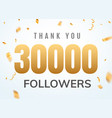 thank you 30000 followers design template social vector image vector image
