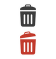 trash bin icons on white background vector image vector image