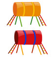 two tunnels in yellow and red vector image vector image