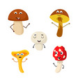 a set of mushroom characters vector image