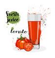 tomato juice fresh hand drawn watercolor vegetable vector image