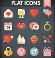 Valentines Day Flat Icons for Applications vector image