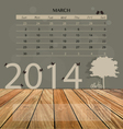 2014 calendar monthly calendar template for march vector image vector image