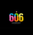 606 number grunge color rainbow numeral digit logo vector image vector image