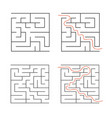 a set of square simple labyrinths an interesting vector image vector image