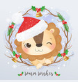adorable little lion for christmas decoration vector image vector image