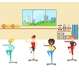 Aerobics Class With Step Equipment Member Of The vector image vector image