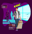 arrival at airport terminal vector image