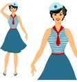 Beautiful pin up sailor girl 1950s style vector image