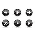 black buttons with chrome frame round glass shiny vector image vector image