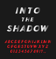 bold italic font coming into the shadow vector image