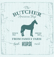 butcher american shop label design with horse vector image vector image